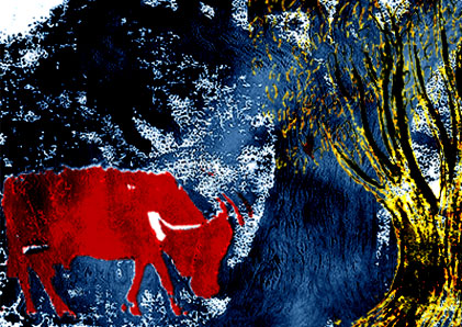 red cow in blue forest with yellow tree in foreground
