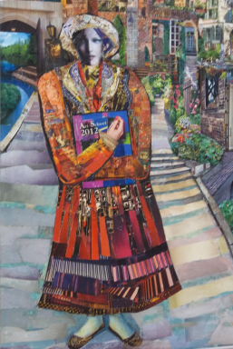 colourful image of a woman clutching a book title Art School 2012. She stands feet together on a pathway in a patchwork costume of warm colours.