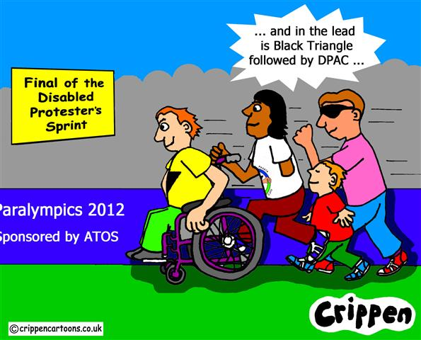 Disabled people protest about ATOS and the Paralympics