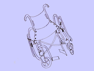 Black ink sketch of a rather wonkey manual wheelchair on a blue background