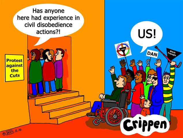 Crippen's cartoon about the experience of disabled protesters