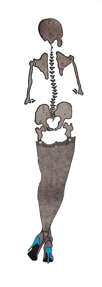 rear view of a grey skeleton on a white background. The skeleton is wearing black stockings and blue sling-back stilettos