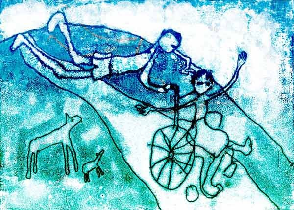 Flying with Micky, Monoprint 1995
