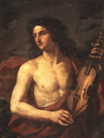 painting of a young man with long flowing hair, bare chested, holds a stringed instrument in his left hand, while looking way to the left with a soulful expression