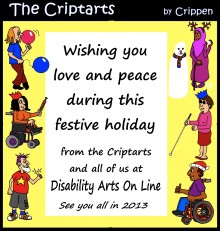 A festive seasonal message from disabled cartoonist Crippen, featuring the Criptarts cartoon characters