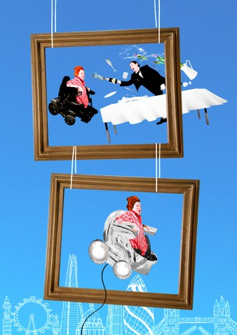 An image of Katherine Araniello with flaming red hair, pictured within two frames suspended one above the other against a blue backdrop.