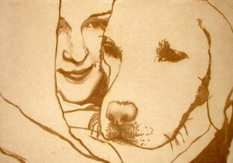 brown line drawing of a young woman and her guide dog against a sepia background