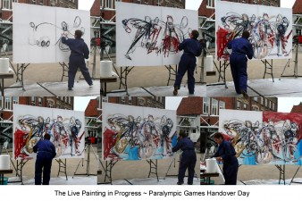 A series of photographs of Rachel Gadsden creating an action painting in response to the handover event at Stoke Mandeville. Photo courtesy of Rachel Gadsden Rachel Gadsden