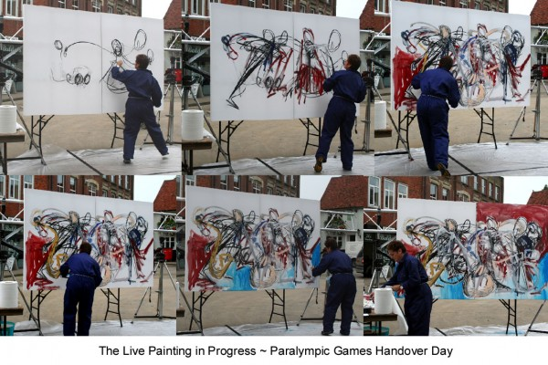 A series of photographs of Rachel Gadsden creating an action painting in response to the handover event at Stoke Mandeville. Photo courtesy of Rachel Gadsden