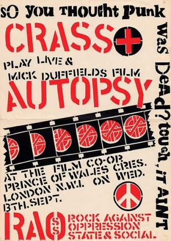 red and black stencilled poster advertising a gig by two punk bands, Crass and Autopsy