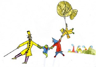 a cartoon-style piece with imagined people wearing bright, strange clothes walking holding hands
