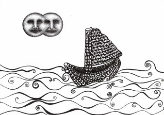 black and white drawing of a knitted boat crossing a sea below two full moons