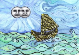 Ink drawing of a knitted yellow boat sailing across a blue sea by Colin Hambrook