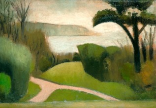 painting of a path through grass and trees looking out over a seaside bay with a headland in the distance