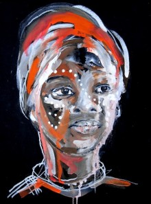 abstract detail from portrait painting of a young woman's face, decorated with white spots by Rachel Gadsden