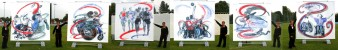 A series of photos of Rachel Gadsden alongside her six large scale representations of disabled paralympians in action. Rachel Gadsden
