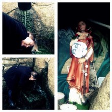 Two photos of Jane McCormick with her head under a well, next to an image of the Virgin Mary holding a photo of one of Jane's sick selfie's