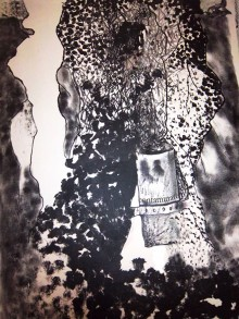 Black and white lithograph of textures and spaces that reflect natural rockiness and possible roots with a decomposing canister labelled 'contaminated' lower right of the centre. The canister maybe integral to the shape or it may be partly at