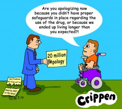 Crippen's cartoons about the apology given to survivors of thalidomide