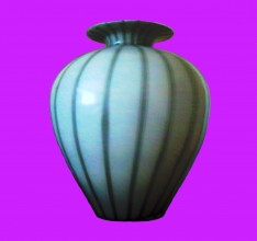 photograph of a white glass vase with grey stripes, it has a pleasingly plump balloon shape . a flare at the neck and sits against a bright pink background.