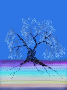 iPad finger drawing of a leafless tree with roots and tiny glowing buds on deep blue background