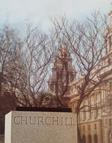 A view of the plinth in Parliament Square, with its inscription 'Churchill', but without its statue