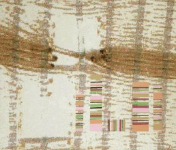 A canvas with pixelated digital marks depicting the holes within a woven structure with paint layered like a bar code