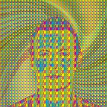 multi-coloured image of a face with waves of colour emanating from it