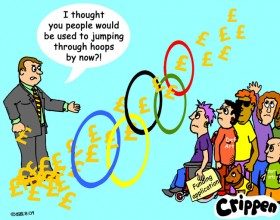 Crippen's cartoon of disabled people faced with the Olympic hoops to jump through