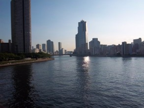 Photo of a view of Sumida from one of the bridges. In the foreground an expanse of dark blue water just before the river forks. The walkway on the left bank is hinted at by greenery, but mostly the river appears surrounded by tower blocks and skyscrapers.
