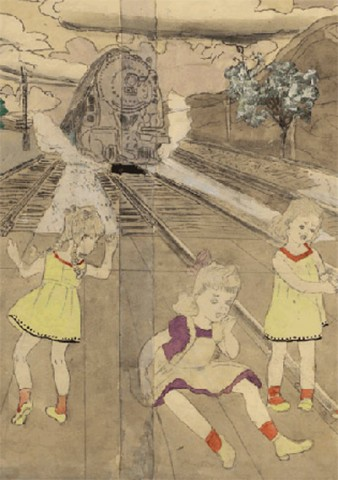 In the foreground three young girls play, unawares, whilst a steam train moved towards them. The girls wear yellow and purple frocks, bows and plaits typical of girls from the 1950