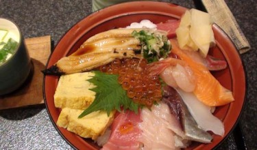 Japanese food, raw fish and Japanese style cooked egg