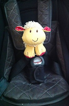 photo of a toy lamb, yellow with red ears and feet, harnassed into a black, baby-car-seat