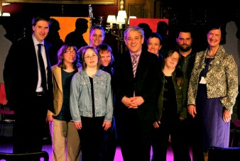 photo of a group of MPs and the actors with a learning difficulty from Blue Apple Theatre