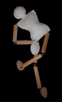 wood and white felt marionette
