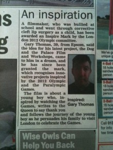 Gary Thomas in the local Paper