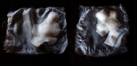 On a black background, two shimmery translucent white, stitched rectangular pockets, containing small white blobs that represent unborn embryos