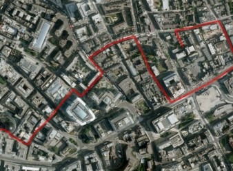 A satelite image of the City of London with a route marked on it