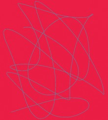 red background with a drawn line swirling in a blue squiggle