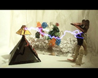 Still from Donkey Spell: a lightning bolt from a lamp strikes a mouse on the left side of the image