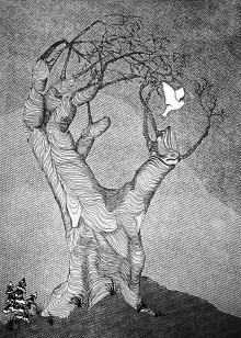 Black and white etching using printed net to create forground and background to the drawing of a hand-shaped tree with its canopy of fingers grasping at an escaping bird.
