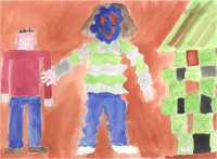 Watercolour of a woman with a blue face, with her arms outstretched. To her left is a man with a square head and a menacing expression on his face. To her right is a house built with green bricks
