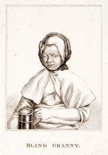 18th century print of an elderly blind woman