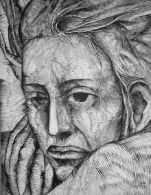 Rilke's Angel. Brush and Ink (with wash) on paper, 2000
