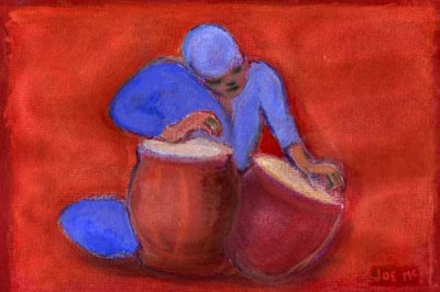 red and blue pastel of a figure drumming