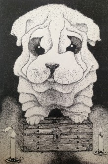 A pen and ink drawing of a large wrinkled dog, with enormous worried eyes, sitting guard on a locked wooden chest. The scene is lit by two candles on the floor and a mouse is in the process of jumping over one of them.