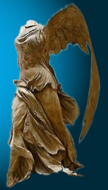 A Photoshopped version of the Winged Victory of Samothrace against a ble background, wings flapping ready to take flight